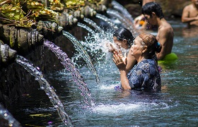 A Water Blessing at Tirta Empul